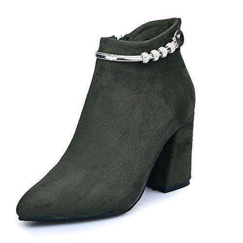 De 37 Trabajo 'botas Zapatos Señoras Deed Remaches Cremalleras Eu Puntiagudos Suede 8zxq50w