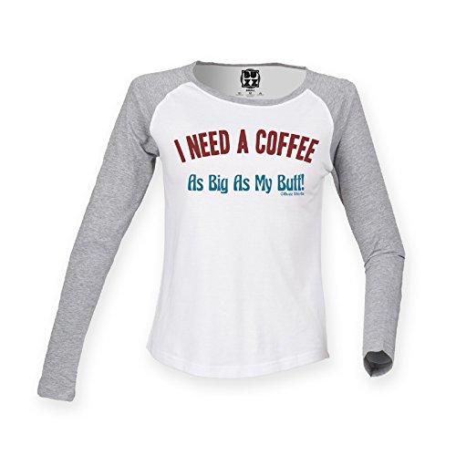 Mujer Raglan Baseball Camiseta COFFEE As big as my butt funny Moda Ladies por Buzz Shirts White/Heather grey