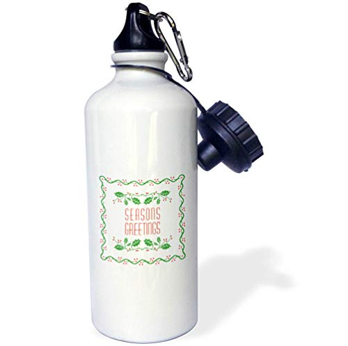 (3dRose Russ Billington Christmas Designs - Seasons Greetings- Stylish Holly Design in Red White and Green - 21 oz Sports Water Bottle (wb_297275_1))