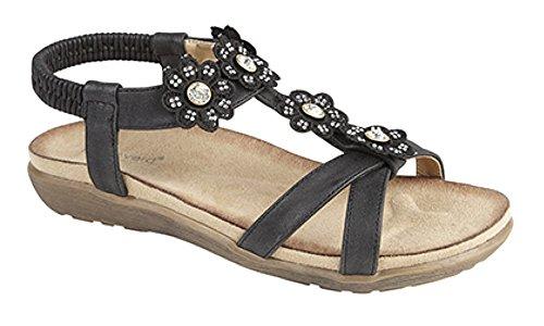 negro sandalias elástico Halterback con plantilla Señoras comodidad q7ZHpn71