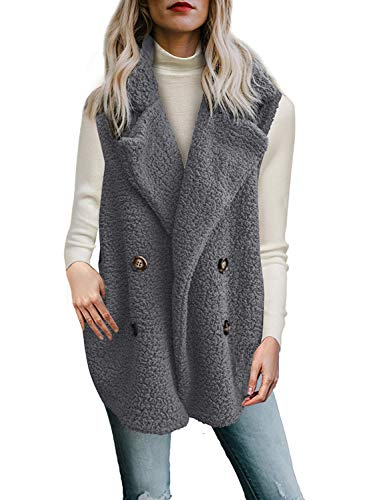 - Dokotoo Womens Casual Solid Loose Cozy Winter Ladies Sleeveless Fleece Warm Open Front Waistcoat Vest with Pockets Coat Outerwear Jackets Grey Medium