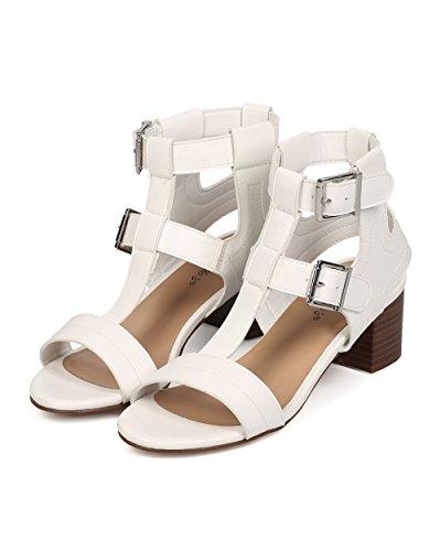 Breckelles Ef61 Sandalo Da Donna Con Tacco Basso In Similpelle E Tacco A Spillo - Bianco