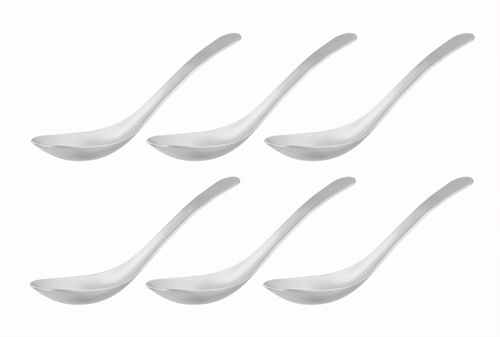 LIANYU Soup Spoons Set of 6, Asian Soup Spoons Stainless Steel, Chinese Japanese Soup Table Spoons, Dishwasher Safe