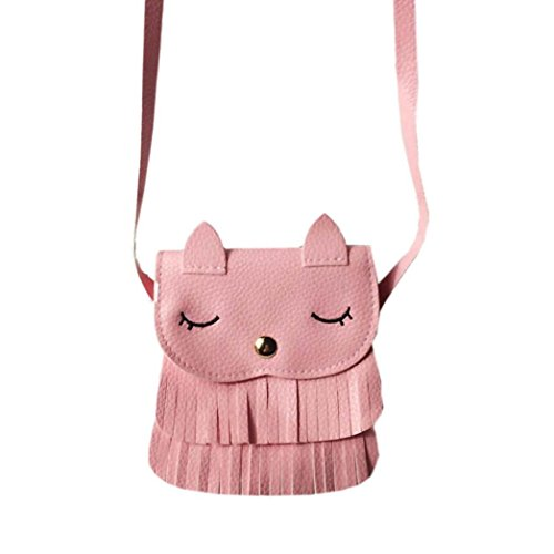 Mysky Women Bags, Women Girls Cute Cat Face Tassel Messenger Bags Shoulder Bag (Pink)