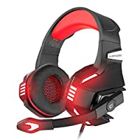 VersionTECH. Stereo Gaming Headset for Xbox One, PS4, PC, Noise Isolating Over Ear Headphones with Mic,LED Light, 50mm Driver, Volume Control for Nintendo Switch(Audio),Laptop, iMac,Computer Games-Red