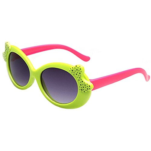 FancyG Cool Kids Style Round Shape Cute Cat Eye Style Bow Tie Decorated UV 400 Protection Sunglasses Frame Eyewear - Green Hot - Eyewear T2