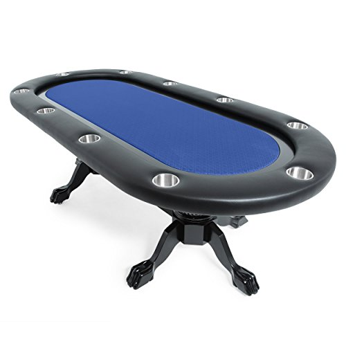 BBO Poker Elite Poker Table for 10 Players with Blue Speed Cloth Playing Surface, 94 x 44-Inch Oval