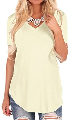 Fantastic Zone Women's V Neck Short Sleeve Tunic Top Shirt Beige 2XL
