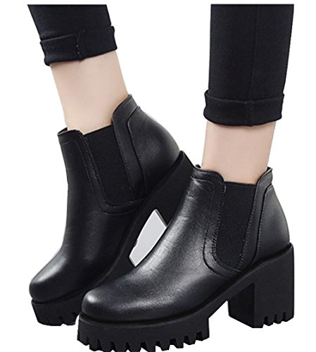 Satuki Womens Teen Gilrs High Heel High Top Pull On Boots Scarpe Casual Nere Con Peluche