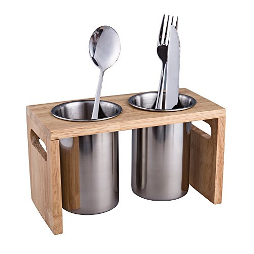 IMEEA Flatware Organizer Caddy with Wood Base SUS304 Stainless Steel Cutlery Utensil Holder for Kitchen Countertop