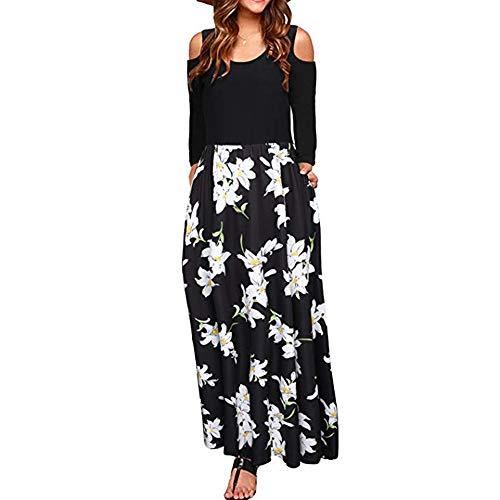 Shot Exotic Fruit - ANJUNIE Women's African Floral Print A Line Long Skirt Pockets Two Pieces Maxi Dress(Black,L)