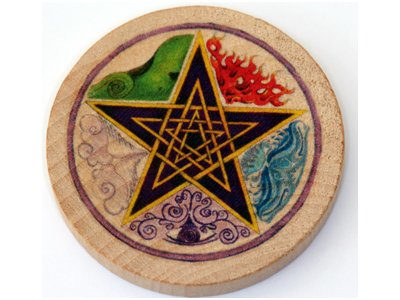 Witch Altar (Authentic Pentagram Elements Wooden Altar Tile - 5cm diameter (2 inches) - Crafted by Pagan Witch with COA)