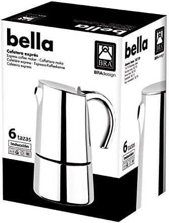 BRA Bella - Cafetera, Capacidad 2 Tazas, Acero Inoxidable 18/10 ...