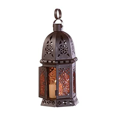 Gifts & Decor Moroccan Metal Amber Glass Candleholder Lantern Light