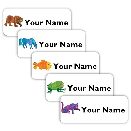 Brown Bear Theme Original Personalized Peel and Stick Waterproof Custom Name Tag Labels for Adults, Kids, Toddlers, and Babies – Use for Office, School, or Daycare by Oliver's Labels (Image #4)'