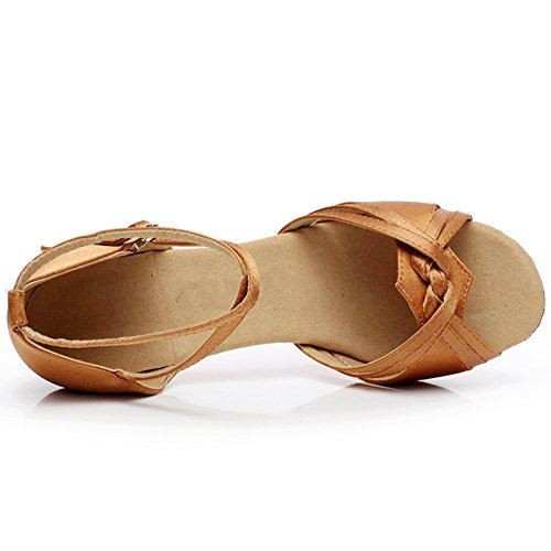 Msmax Donna Raso Sandali Di Danza Sociale 2.75 Con Cinturino 7cm In Pelle Scura