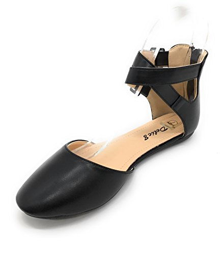 Blue Berry EASY21 Womens Casual Flats Ballet Ankle Strap Fashion Shoes Black 39 2Muy1VfWd
