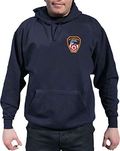 feuer1 Felpa con Cappuccio Navy//FDNY con Fabrigem Petto Logo sul Retro con Logo