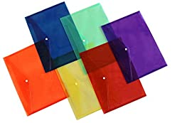 Lightahead LA-7550 Clear Poly Document Folder with Snap Button, A4 size, Set of 6, 6 Assorted Colors (Blue/Green/Orange/Yellow/Purple/Maroon)