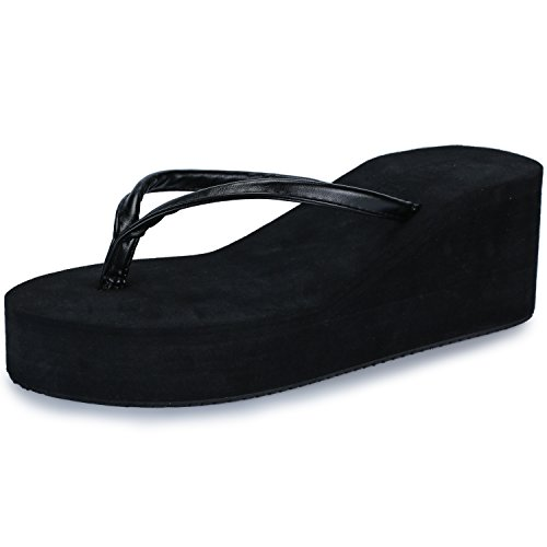 5cac396c8 Difyou IDIFU Women s Thong High-Heeled Platform Wedge Flip Flops Sandals  Black 5.5 B(M) US - Buy Online in UAE.