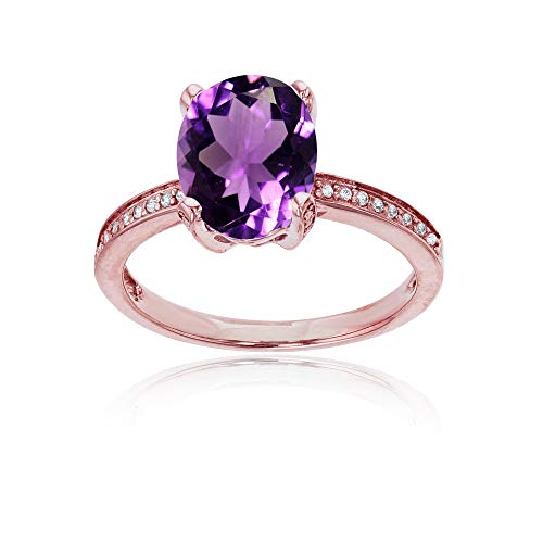 (Sterling Silver Rose 1mm Created White Sapphire Channel Set & 10x8 Oval Amethyst Engagement Ring)
