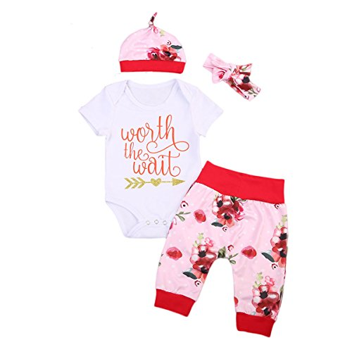 Newborn Baby Girls Floral Bodysuit Romper + Pants + Hat + Headband Coming Home Outfits Clothes Set