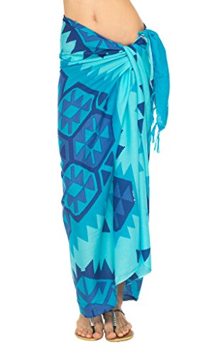 SHU-SHI Womens Beach Swimsuit Cover up Ethnic Sarong Wrap with Coconut Clip by SHU-SHI