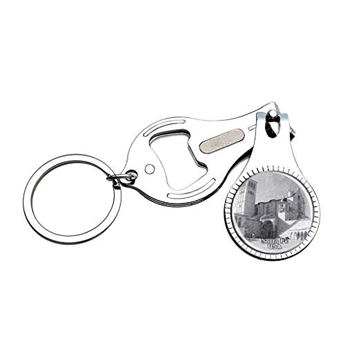 USA United States The Cathedral Basilica of St. Francis of Assisi Santa Fe Sketch Nail Clipper Bottle Opener Keychain Creative Crystal Stainless Steel Multifunction Souvenirs Gifts (Cathedral Basilica Of St Francis Of Assisi)