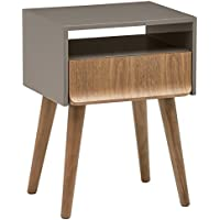 Rivet Mid-Century Lacquer Side Table, Grey and Walnut