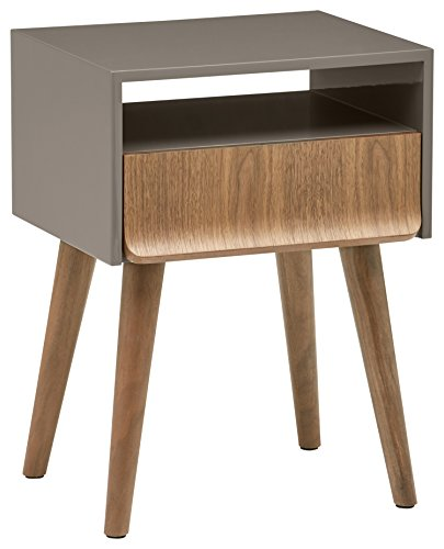 Rivet Mid-Century Modern Lacquer Side End Table Nightstand, Grey and Walnut