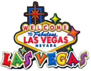 Las Vegas Magnet - White Rubber Sign, Las Vegas Magnets, Las Vegas Souvenirs