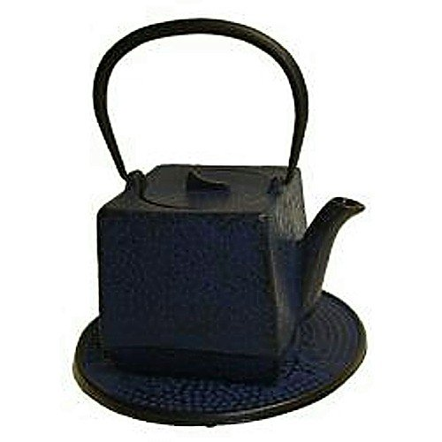 Japanese Tetsubin Cast Iron Blue Square - Square Cast Iron Infuser