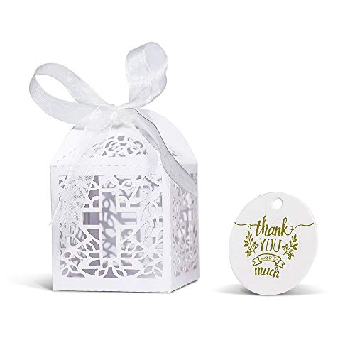 (KAZIPA 50PCS Baptism Favor Boxes, 2.2''x2.2''x2.2''Laser Cut Favor Boxes with 50 Ribbons 50 Thank You Tags for Baby Shower Favors Baptism Decorations First Birthday)