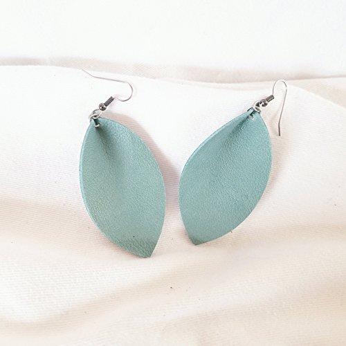 Mint Green/Leather Statement Earrings - Medium/Leaf/Joanna Gaines Earrings