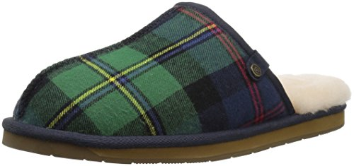 206 Collective Men's Union Shearling Slide Slipper Shoe, green plaid, 10 D US