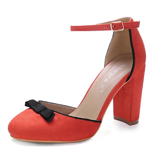 0286748f1 Allegra K Women s Round Toe Bow Decor Block Heel Ankle Strap Pumps free  shipping