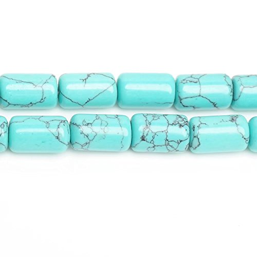 Tube Connector Spacer Beads for Women Necklace Bracelet Earrings Jewelry Craft Home Decoration Making Supply One Strand Imitation Blue Turquoise Stone 610mm Beads 15 Inch Apx 40 - Imitation Beads Turquoise
