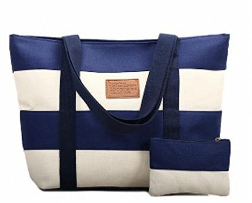 Women's Canvas Cotton Tote Bag Large Capacity Stripe Handbag Casual Shoulder Bag Shopping Bag with Small Purse for School Work Travel (Blue) by Gupiar