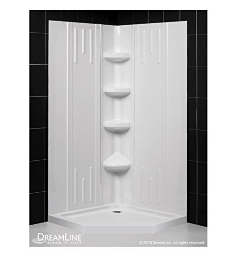 DreamLine DL-6040C-01 Qwall-2 Slimline 36 In. x 36 In. Neo-Angle Shower Base & Qwall-2 Shower Backwall Kit, 36 In. W x 36 In. D x 75-5/8 In. H, White Color