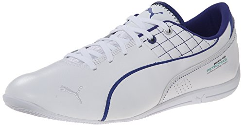 Puma Heren Mercedes Drift Cat 6 Leer Lace-up Mode Sneaker Wit / Wit / Clematis Blue