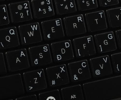 14X14 Slovak Keyboard Labels ON Transparent Background with White Lettering