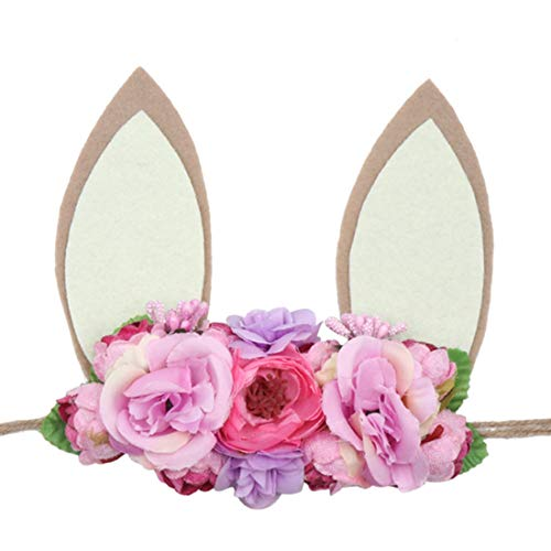 DreamLily Baby Girls Flower Crown Spring Bunny Headband Woodland Floral Head Piece for Toddler BB14 (Tie Back Ivory khaki Ear)