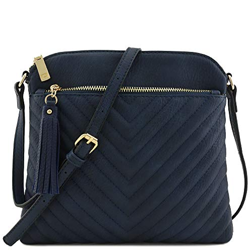 Chevron Quilted Medium Crossbody Bag with Tassel Accent Navy