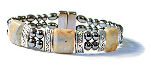 Beads-N-Style Black High Power Magnetic Hematite and Crazy Lace Agate Therapeutic Good Health Bracelet (8.0)