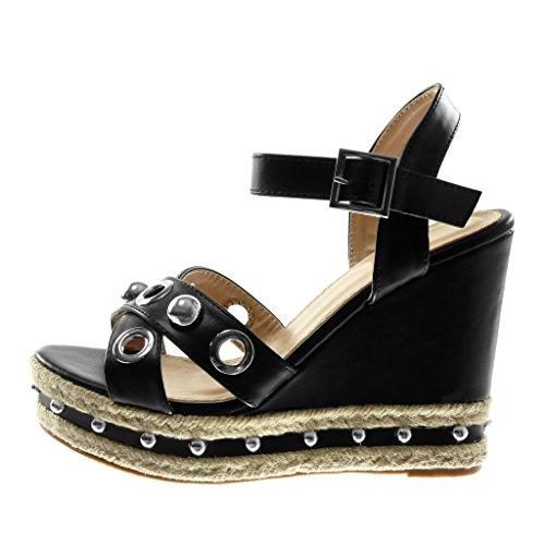 Angkorly perla Slippers cm Ciabatte cinturino 12 con caviglia alla Fashion borchiata nero Sandali perforata con Donna D2bHEY9eWI