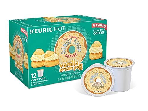 The Original Donut Shop Keurig Single-Serve K-Cup Pods,Vanilla Cream Puff, Medium Roast Coffee, 12 count, Pack of 6