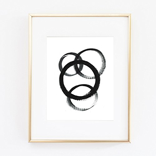 Circles Swirls Black and White Abstract Weakest Link Modern Acrylic Paint Hand Painted Color poster Home Decor 0034