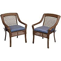Hampton Bay Spring Haven Brown All-Weather Wicker Patio Dining Chair with Sky Blue Cushion (2-Pack)