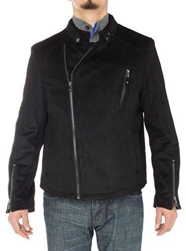 - LN LUCIANO NATAZZI Men's Wool Casual Sport Coat Modern Fit Stand Collar Moto Jacket (52 US - 62 EU,Black)