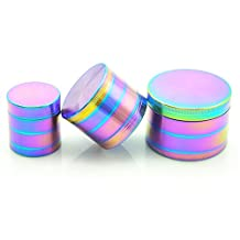YTH Herb Grinder with Pollen Catcher, 4 Piece Zinc Crusher for Weed, Tobacco, Spices (Colorfull-40mm)